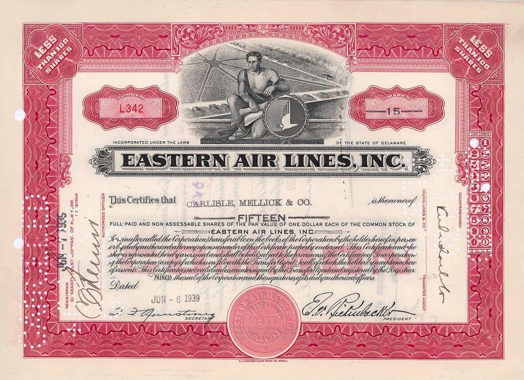 """Historische Aktie der Eastern Air Lines von 1939 mit gedruckter Signatur von Edward Vernon """"Eddie"""" Rickenbacker. Er war Automobilrennfahrer, Unternehmer (Inhaber der 1922-1927 existierenden Rickenbacker Motor Company) und der erfolgreichste Jagdflieger im Ersten Weltkrieg (26 Siege bei Luftkämpfen)."""