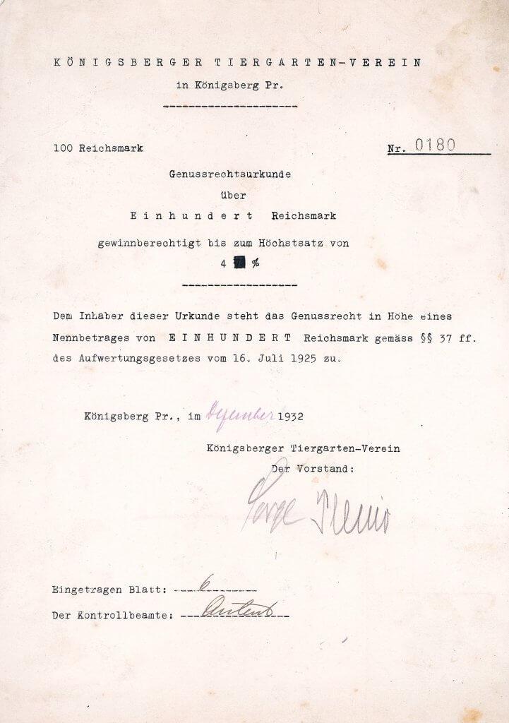 Zoo Königsberg - Königsberger Tiergarten-Verein, historische Genussrechtsurkunde über 100 RM von 1932. Nur 11 Exemplare wurden in der Reichsbank-Auktion versteigert, sonst keine dieser Wertpapiere im Markt bekannt.