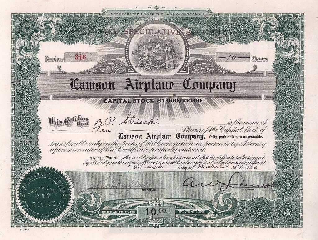 """Lawson Airplane Company, historische Aktie von 1920, als Präsident original signiert von dem Baseballspieler, Luftfahrtpionier, Autor, Erfinder einer allumfassenden Wissenschaft und Religionsstifter Alfred W. Lawson, Gründer der  """"Humanity Benefactor Foundation"""""""