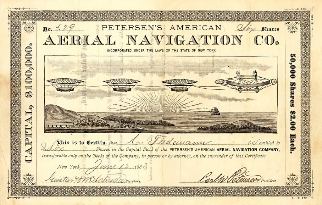 Petersen's American Aerial Navigation Company, historische Aktie von 1883 zum Bau eines elektrisch angetriebenen Gas-Luftschiffes, das aus 8 Modulen bestand. Diese Luftschiffe waren für Atlantiküberquerungen geplant und sollten wie Eisenbahnwaggons aneinandergekoppelt werden. Das für den Personentransport gedachte Luftschiff sollte zu Lande und zu Wasser starten und landen können.