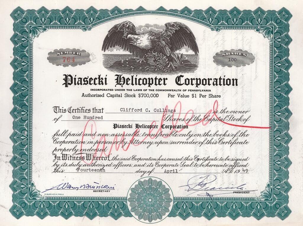 Piasecki Helicopter Corporation - Historische Aktie von 1949 mit Originalsignatur von Frank Nicholas Piasecki als Präsident. Ein hochbedeutender Luftfahrtwert und eine große Rarität: Nur drei Stücke wurden vor Jahren in den USA gefunden!