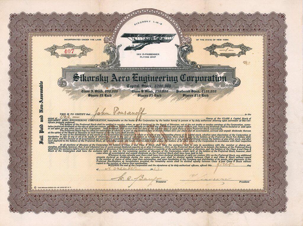 Sikorsky Aero Engineering Corporation, historische Aktie von 1923. Dekoratives Papier mit Abbildung einer Sikorsky I-M-B, einer Maschine für 15 Passagiere aus dem Jahr 1913. Die Aktie wurde eigenhändig vorderseitig von Igor Sikorsky als Präsident unterschrieben. Museale Rarität.