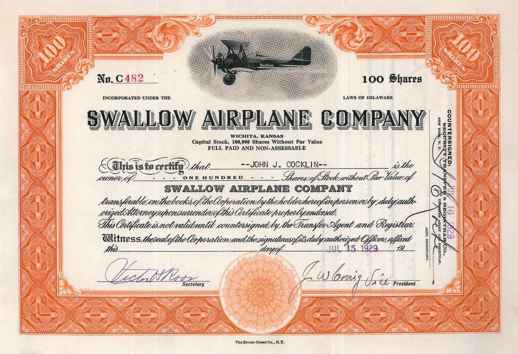 """Swallow Airplane Company, historische Aktie von 1929. Emil Matthew Laird baute die erste kommerziell einsetzbare Maschine der zivilen Luftfahrtgeschichte der USA überhaupt, eine umgebaute Curtiss JN-4, genannt """"Swallow""""."""