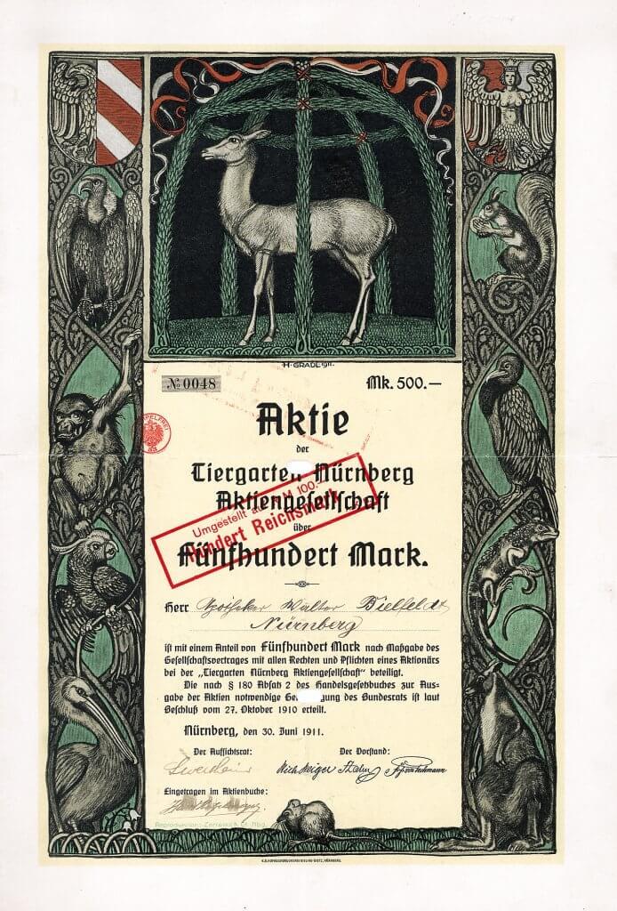 Tiergarten Nürnberg AG, Gründeraktie des Zoo Nürnberg aus dem Jahr 1911. Der Entwurf der farbenprächtigen und kunstvollen Aktie stammt von Professor Hermann Gradl (1883-1964), Landschaftsmaler des romantischen Realismus und späterer Direktor der bildenden Künste in Nürnberg.