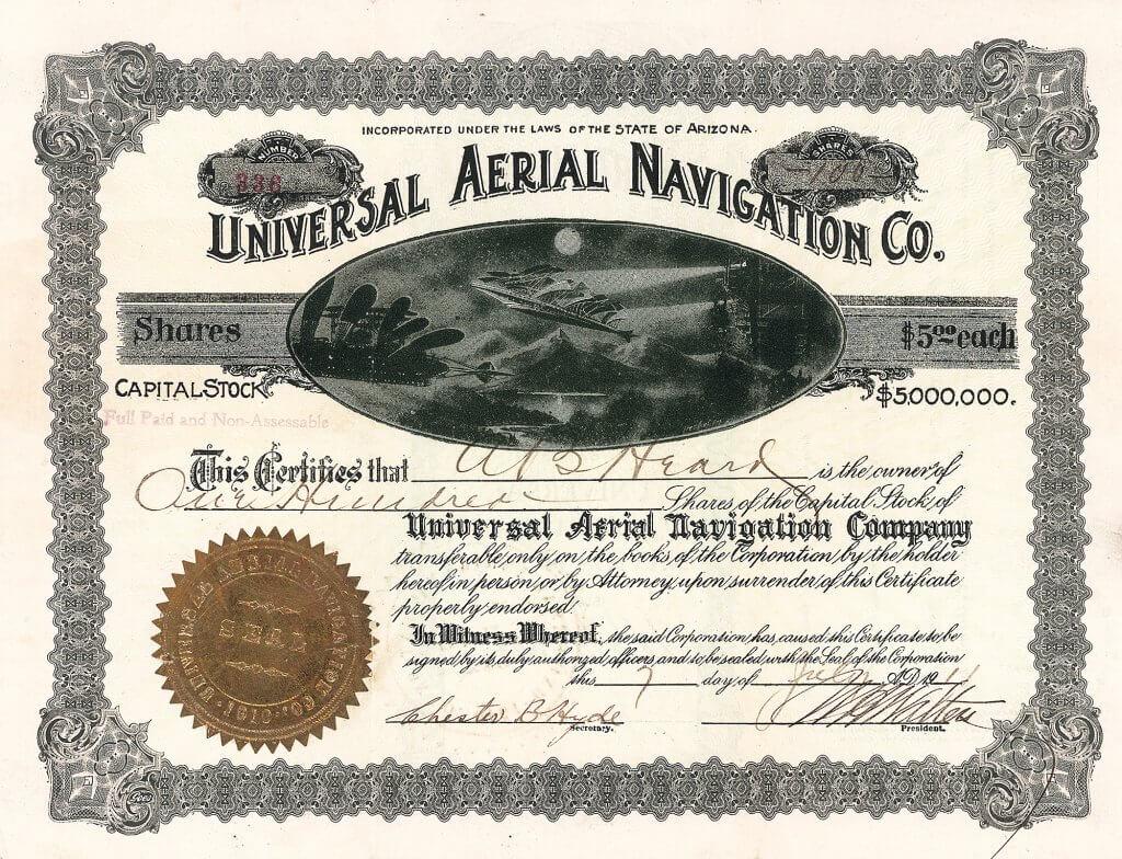 Universal Aerial Navigation C., historische Aktie von 1911. Die Gesellschaft konstruierte ein Fluggerät, welches die Vorteile eines Flugzeuges und eines Hubschraubers verband. Das Fluggerät sollte mittels dreier Hub-Propeller sowohl direkt ohne Startbahn aufsteigen können, wobei auch ein normaler Start mit Antriebspropellern möglich wäre. Für den Antrieb sollten zwei Emerson-Motoren, jeweils 100 PS stark, sorgen.