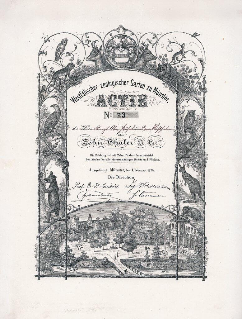 Westfälischer Zoologischer Garten zu Münster, Gründeraktie des Zoo Münster über 10 Taler aus dem Jahr 1874. Wunderschön illustriertes Papier, als Lithographie ausgeführt. Es sind höchstens 40 dieser herrlichen Aktien bekannt geworden.