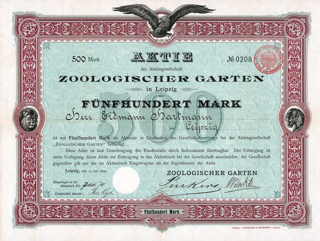 AG Zoologischer Garten in Leipzig, Gründeraktie des Zoo Leipzig aus dem Jahr 1899. Nach dem 2. Weltkrieg konnte der Zoo am 6.5.1945 wiedereröffnet werden und entwickelte sich seither zu einem der wichtigsten zoologischen Gärten in der ehemaligen DDR.