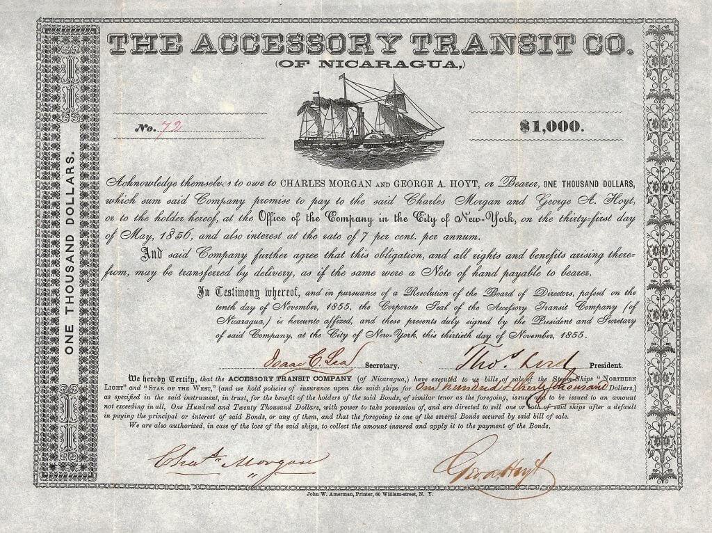 """Accessory Transit Company (of Nicaragua), 7 % Obligation über 1000 $, New York, 30. November 1855. Berühmt wurde Morgan's Kampf gegen Commodore Vanderbilt um die Kontrolle der """"Accessory Transit Co."""". Zum Zeitpunkt seines Todes kontrollierte Morgan fast sämtliche Eisenbahnlinien in Texas und den angrenzenden Staaten."""