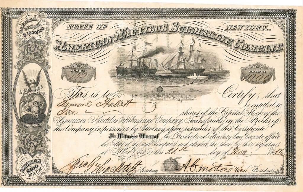 """American Nautilus Submarine Company, historische Aktie von 1856. Die """"American Nautilus Submarine Company"""" wurde um 1852 von dem Unternehmer Henry Beaufort Sears (1825-1880) und seinem Hauptgeldgeber, dem Eisenbahnpionier Samuel Hallett (1827-1864) in New York als Aktiengesellschaft mit einem Kapital von einer Million Dollar gegründet. Die Gesellschaft hatte die """"Nautilus-Tauchglocke"""" entwickelt, die als ein Unterwasserkran oder als Plattform zum Absuchen des Meeresbodens eingesetzt werden konnte, zum Beispiel um aus Schiffwracks Wertgegenstände zu bergen."""