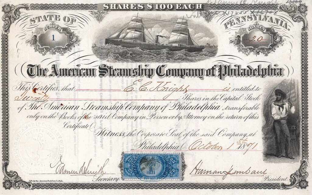 "Die American Steamship Company of Philadelphia wurde gegründet mit dem Gesetz vom 18. April 1871 ""for the purpose of establishing a line of first class steamships to run between Philadelphia and Liverpool; the steamers to be constructed in American ship building yards"". Aktie über 20 Shares à 100 $, Philadelphia, 1. Oktober 1871. Die Gesellschaft war die größte US-amerikanische Reederei ihrer Zeit."