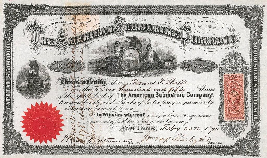 """American Submarine Company, historische Aktie von 1871. Das von der Gesellschaft gebaute """"Intelligent Whale"""" war das erste für die Marine der Nordstaaten im Bürgerkrieg gebaute Unterseeboot. Das Schiff hatte eine Besatzung von 6 bis 13 Männern. Die Bewaffnung bestand aus Minen. Angetrieben wurde sie durch eine handkurbelbetriebene Schraube. Mit diesem Antrieb konnte das Schiff 4 Knoten erreichen."""