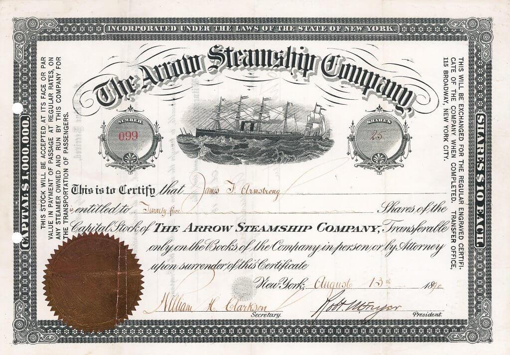 """Arrow Steamship Company, historische Aktie von 1890. Die Reederei bestand bis in die späten 1950er Jahre. Ihr erster Dampfer war die """"Pocahontas"""", das schnellste, das luxuriöseste und das sicherste Passagierschiff Amerikas, unsinkbar und unbrennbar. Nur 2 dieser hochdekorativen Aktien sind bekannt."""
