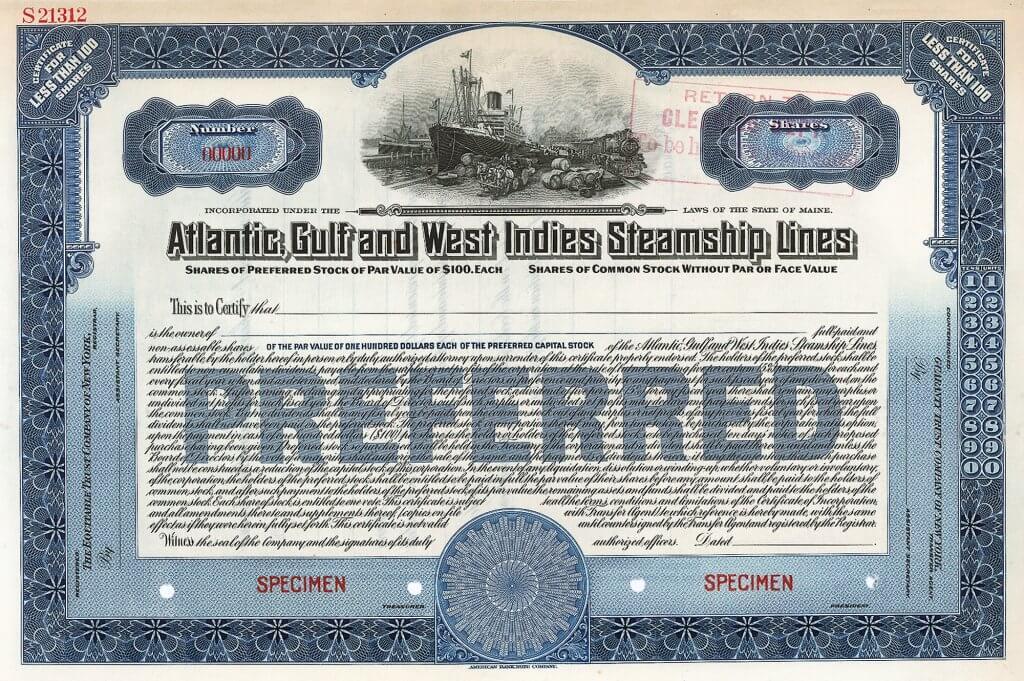 Atlantic, Gulf and West Indies Steamship Lines, historische Aktie von 1908. Der Reederei gehörten mehrere Schifffahrtsfirmen und eine Flotte von 5 Schiffen. Diese fuhren zwischen Philadelphia und Texas City unter der Southern Steamship Company