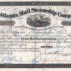 Atlantic Mail Steamship Company, historische Aktie von 1873. Nach dem Sezessionkrieg im Jahr 1865 wurde die Atlantic Mail Steamship Company für 5,4 Millionen $ von der