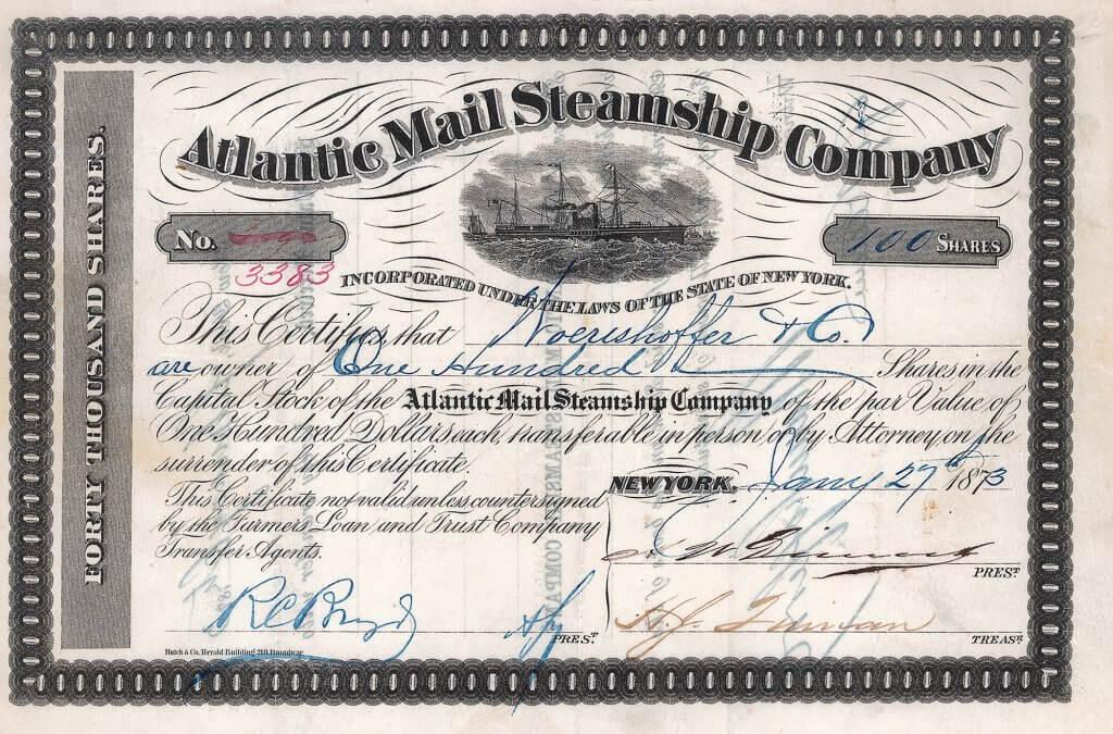 """Atlantic Mail Steamship Company, historische Aktie von 1873. Nach dem Sezessionkrieg im Jahr 1865 wurde die Atlantic Mail Steamship Company für 5,4 Millionen $ von der """"Pacific Mail Company"""" übernommen. Diese Fusion brachte die größte Reederei des amerikanischen Kontinents hervor."""