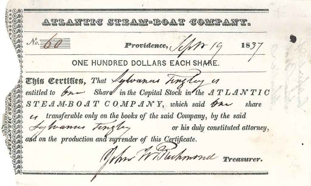 """Atlantic Steam-Boat Company, historische Aktie von 1837. Die Reederei betrieb den Dampfer """"J. W. Richmond"""" unter dem Kommando von Kapitän W. H. Townsend zwischen Providence und New York. Das Schiff mit einer  Wasserverdrängung von 520 Tonnen, genannt nach dem Besitzer John W. Richmond, einem ehemaligen Schiffsagenten von """"Commodore"""" Cornelius Vanderbilt. Legendär waren die Rennen zwischen """"J. W. Richmond"""" und """"Lexington"""" im Frühling 1838. Die """"Lexington"""" war ein 1835 gebauter Seitenraddampfer. Betreiber des Schiffs war Cornelius Vanderbilt. Von 1835 bis 1840 war die Lexington das schnellste Verkehrsmittel zwischen New York und Boston. Nachdem die """"Lexington"""" das Rennen gegen """"J. W. Richmond"""" verlor, verkaufte Vanderbilt im Dezember 1838 für ca. 60.000 US-Dollar an die New Jersey Steamship Navigation and Transportation Company.  Bei einer Brandkatastrophe von 1840 sank die Lexington, wobei 139 der 143 Menschen an Bord ums Leben kamen."""