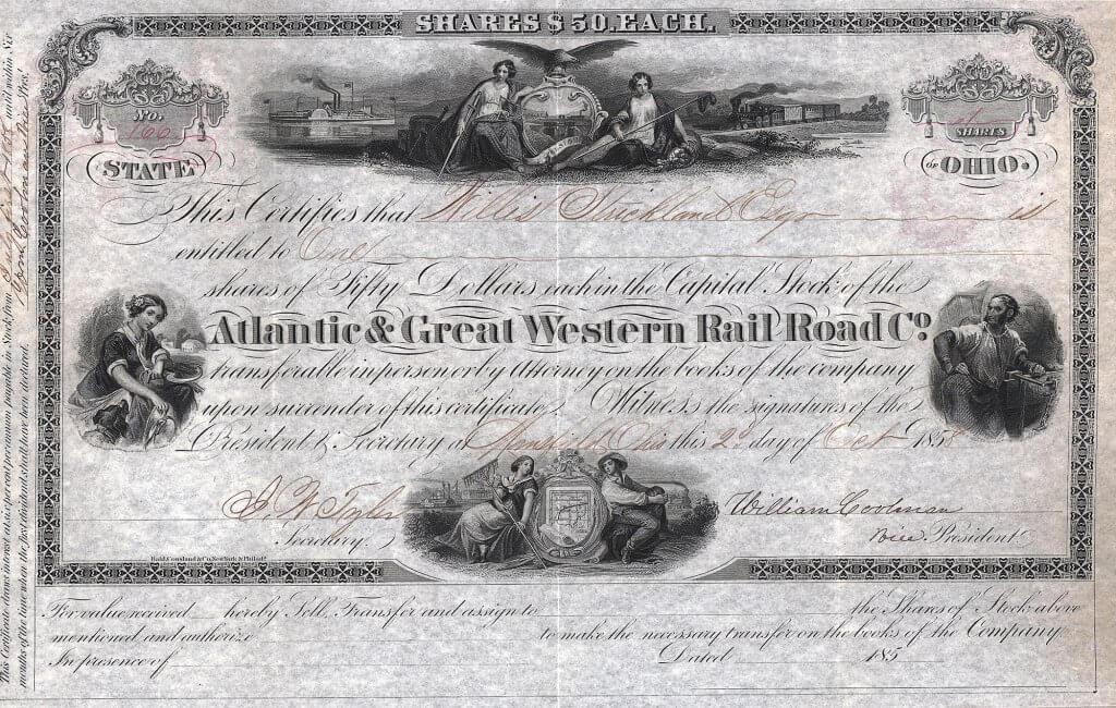 Atlantic and Great Western Rail Road Company (of Ohio), historische Aktie von 1858. Unter den US-Eisenbahnaktien eine hochbedeutende Rarität. Die Geschichte dieser Bahn bestand aus Vertragsauflösungen, Insolvenzen, Reorganisationen, Kleinkriegen und Neuverpachtungen, gegen das das Liebesleben von Richard Burton und Liz Taylor eine ganz simple Geschichte war.