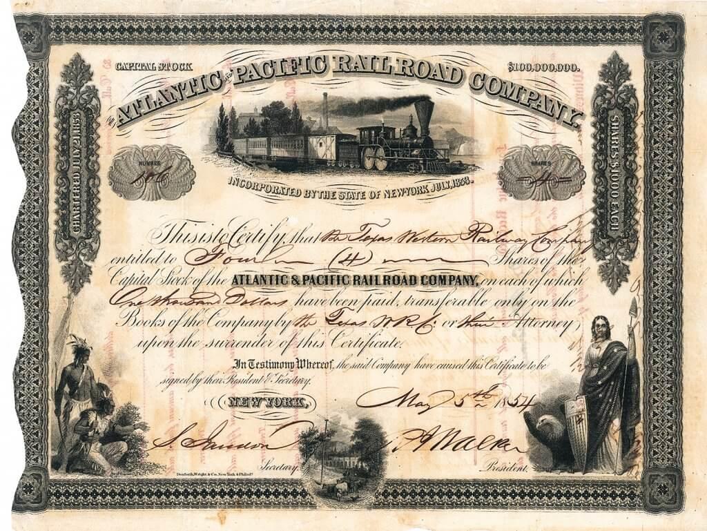 Atlantic & Pacific Rail Road Company, historische Aktie von 1854, vorderseitig original signiert von dem US-amerikanischer Politiker, Senator für Mississippi, Gouverneur des Kansas-Territoriums und US-Finanzminister Robert J. Walker (1801-1869) als Präsident der Gesellschaft. Gegründet 1853 zum Bau der allerersten transkontinentalen Eisenbahn Nordamerikas. Museale Rarität