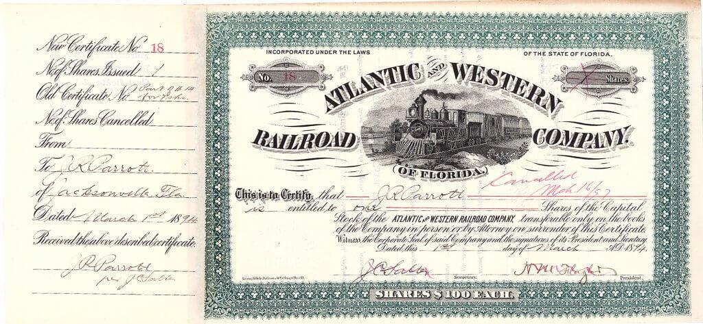 """Atlantic and Western Railroad Company of Florida, historische Aktie von 1894 mit Originalsignatur des Öl-Magnaten und Milliardärs  Henry M. Flagler (1830-1913) als Präsident. Von dieser Vorläufer-Gesellschaft der """"Florida East Coast Railway"""" wurden Mitte der 90er Jahre mit Flagler-Unterschrift lediglich 7 Exemplare gefunden."""