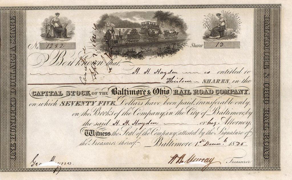 """Baltimore & Ohio Rail Road Company, historische Aktie von 1835. Die wunderschön gestochene Zentralvignette zeigt die berühmte """"Tom Thumb""""-Versuchslokomotive des New Yorker Geschäftsmannes Peter Cooper. Cooper veranstaltete 1829 auf den Gleisen der """"Baltimore & Ohio"""" ein Rennen zwischen der """"Tom Thumb"""" und einem Pferdegespann. Obwohl Coopers Lokomotive das Rennen verlor, beeindruckte sie die Zuschauer enorm, was zur beschleunigten Einführung der Dampfeisenbahn in den USA beitrug."""