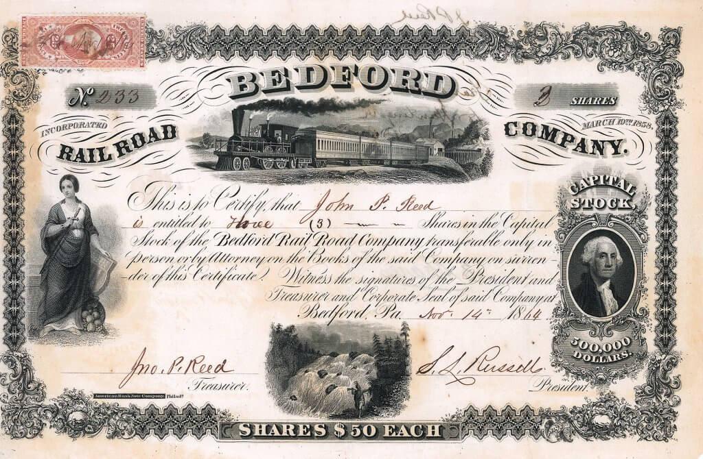 Bedford Railroad Company - Historische Aktie von 1864. Herausragender ABNC-Stahlstich mit vier Vignetten: weibliche Allegorie, Personenzug vor Fabrik, Indianer vor einem tosenden Wasserfall, Portrait George Washington. Bei ihrem Bauvorhaben bekam die Bahn finanzielle Unterstützung durch die Pennsylvania Railroad.