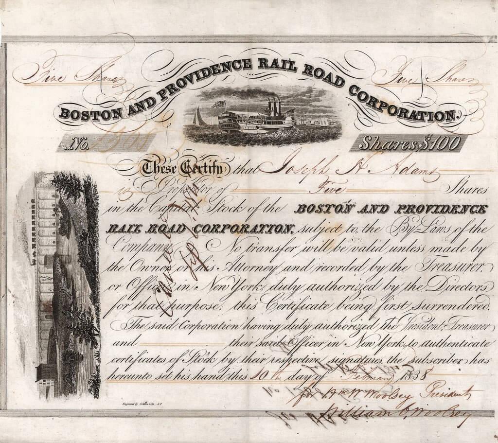 Boston and Providence Railroad, historische Aktie von 1838. Eine der ältesten Bahnen der USA, bereits 1831 gegründet. 1968/72 auf die Penn Central verschmolzen. Heute Teil der Amtrak-Hochgeschwindigkeitsstrecke von Boston nach New York City, auf der mit dem Acela Express der einzige Hochgeschwindigkeitszug in Nordamerika verkehrt.