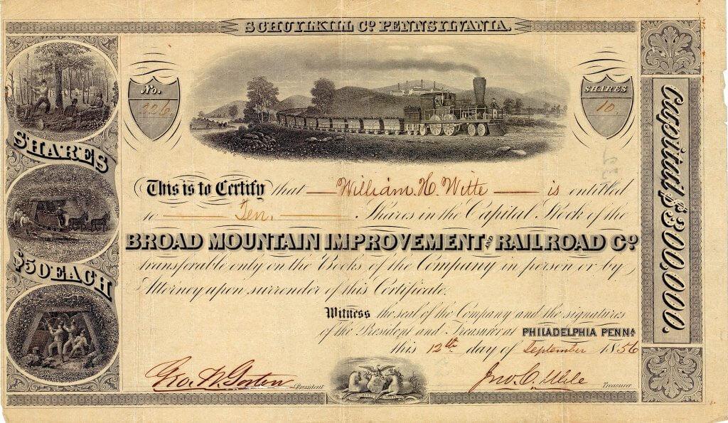 Broad Mountain Improvement & Railroad Company, historische Aktie von 1856. Die Gesellschaft betrieb eine Rampenbahn für den Kohletransport, die Broad Mountain durchquerte, auf einer Länge von lediglich 750 m um 160 m anstieg und als stärkste Steigung 28 Grad hatte.  Ihre 6.000-PS-Antriebsmaschinen waren die stärksten Maschinen auf der ganzen Welt und wurden an Kraft später nur noch von den Antriebsmaschinen zum Bewegen der Schleusen des Panamakanals übertroffen.