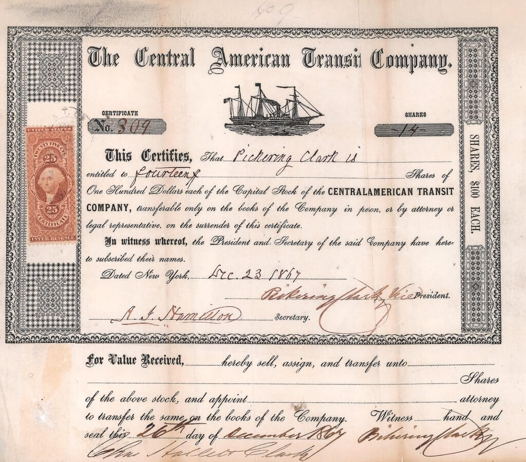 """Central American Transit Company, historische Aktie von 1867. Kleine Holzstichvignette mit Darstellung des Dampfseglers """"Moses Taylor"""". Das Schiff wurde 1860 von Cornelius Vanderbilt gekauft und 1864 auf die """"Central American Transit Co."""" übertragen."""