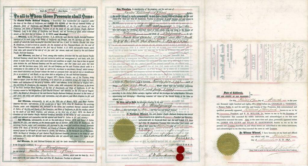 Central Pacific Railroad Company - Landverkaufskontrakt von 1881, original signiert von Leland Stanford, der zusammen mit Huntington, Crocker und Hopkis einer der führenden Männer beim Bau der ersten transkontinentalen Eisenbahn war