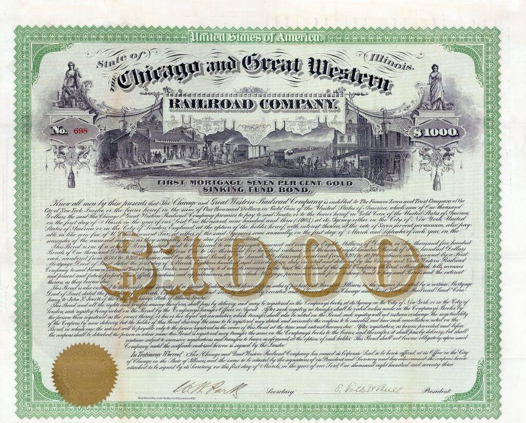 Chicago & Great Western Railroad Company - Historisches Wertpapier von 1873. First Mortgage Gold Bond. Herrliche Vignette aus der Künstlerwerkstatt von Henry Seibert & Bros., der Druckerei, die die allerschönsten Wertpapiere hervorbrachte. Die Lebensdauer dieser Eisenbahngesellschaft bemißt sich nicht in Jahren, sondern nur in wenigen Wochen!