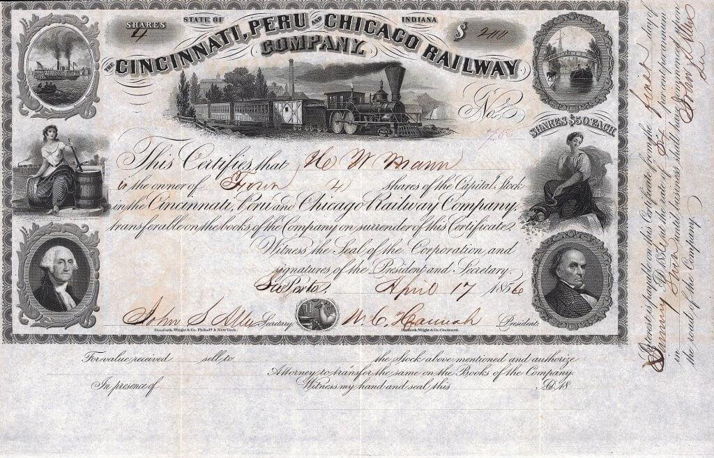Cincinnati, Peru and Chicago Railway Company - Historische Aktie von 1856. Sehr dekoratives Papier mit 8 Kupferstich-Vignetten, gedruckt von Danforth, Wright & Co. Die Bahn wurde gegründet von dem Bankier James H. Walker aus La Porte in LaPorte County, Indiana.