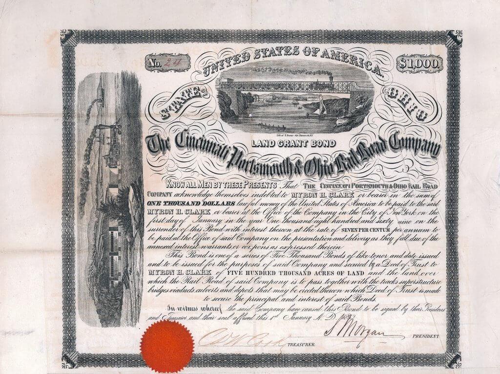 Cincinnati, Portsmouth & Ohio Railroad, historisches Wertpapier von 1859. Original signiert von Junius Spencer Morgan (1813-1890) als Präsident, Vater des Milliardärs John Pierpont Morgan. Lithographie von T. Boner mit zwei spektakulären Vignetten