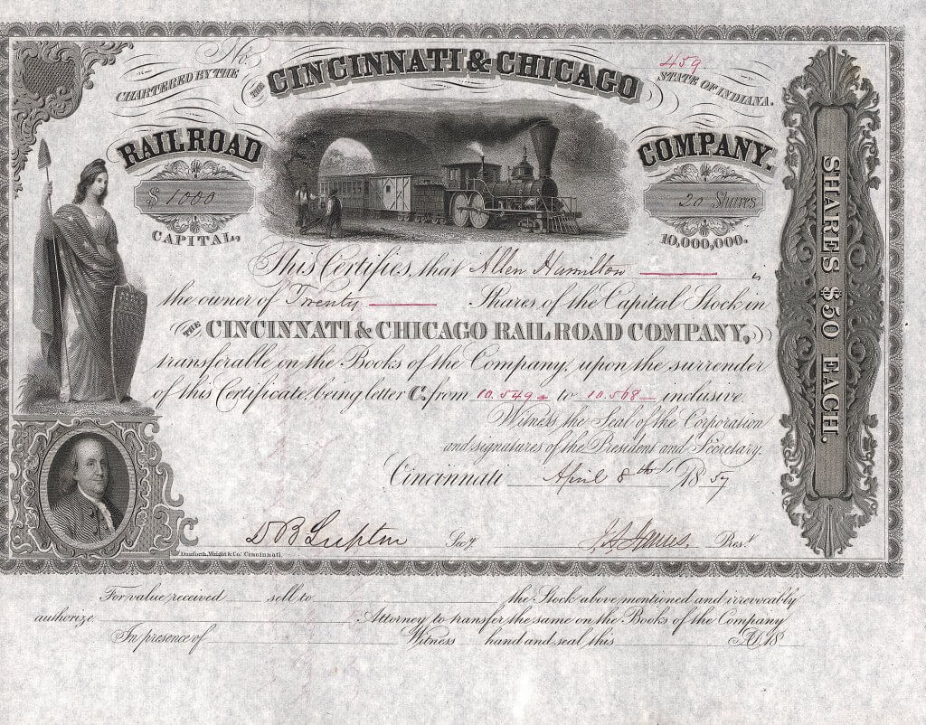 Cincinnati and Chicago Railroad Company, historische Aktie von 1857. Die Börsenpanik in New York im August 1857, die zur ersten Weltwirtschaftskrise führte, endete für die Cincinnati and Chicago Railroad Company nach Zahlungsunfähigkeit in einer Zwangsversteigerung. Die Bahn wurde reorganisiert und am 10. Juli 1860 als Cincinnati und Chicago Air-Line Railroad Company neu gegründet.
