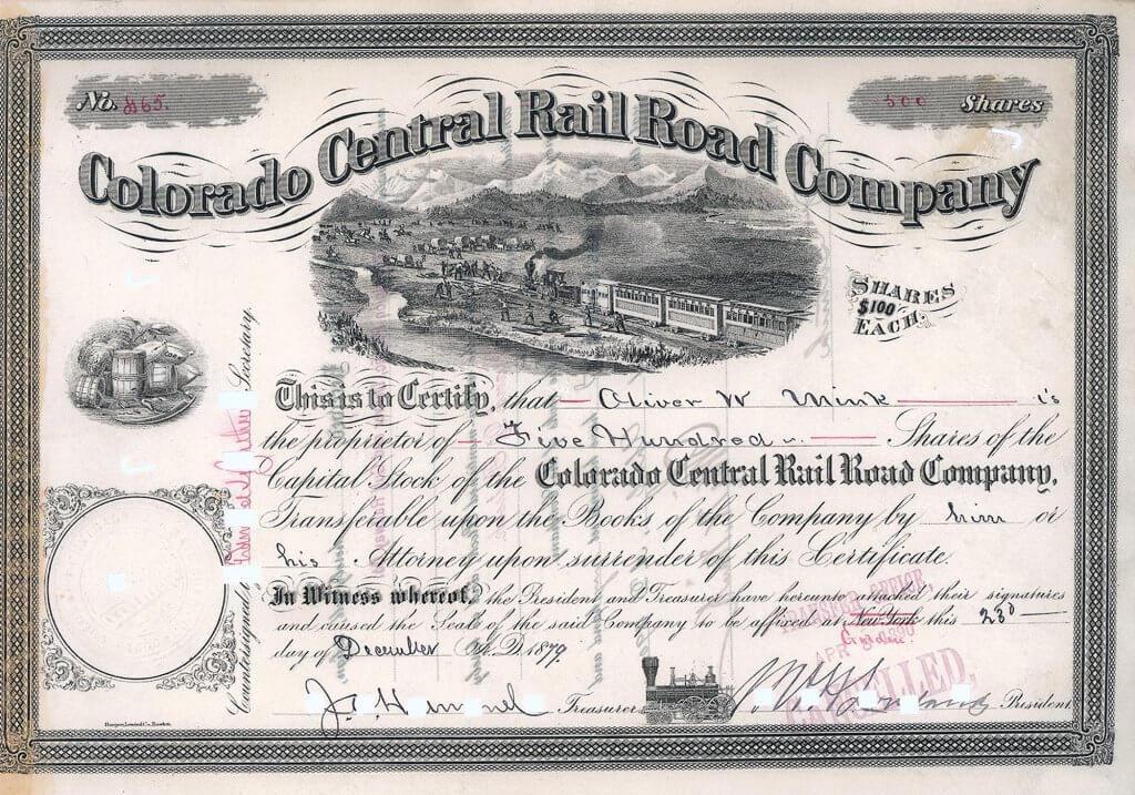 Colorado Central Railroad Company, historische Aktie von 1879. Die Bahn wurde konzessioniert 1865. Wichtig war vor allem die Strecke Denver Junction - La Salle als Teil der Hauptlinie der berühmten Union Pacific Railway, unter deren Einfluss die Colorado Central 1880 schließlich kam.