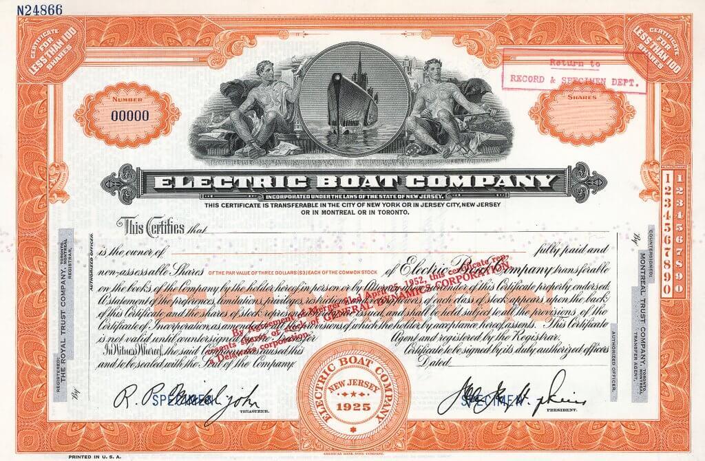 Electric Boat Company, historische Aktie von 1950, Musterstück. Hochwertiger Stahlstich der ABNC mit zwei männlichen Allegorien, mittig in runder Vignette ein aufgetauchtes U-Boot. Heute als General Dynamics ist die Firma der Hauptproduzent von U-Booten für die US-Marine seit über 100 Jahren.