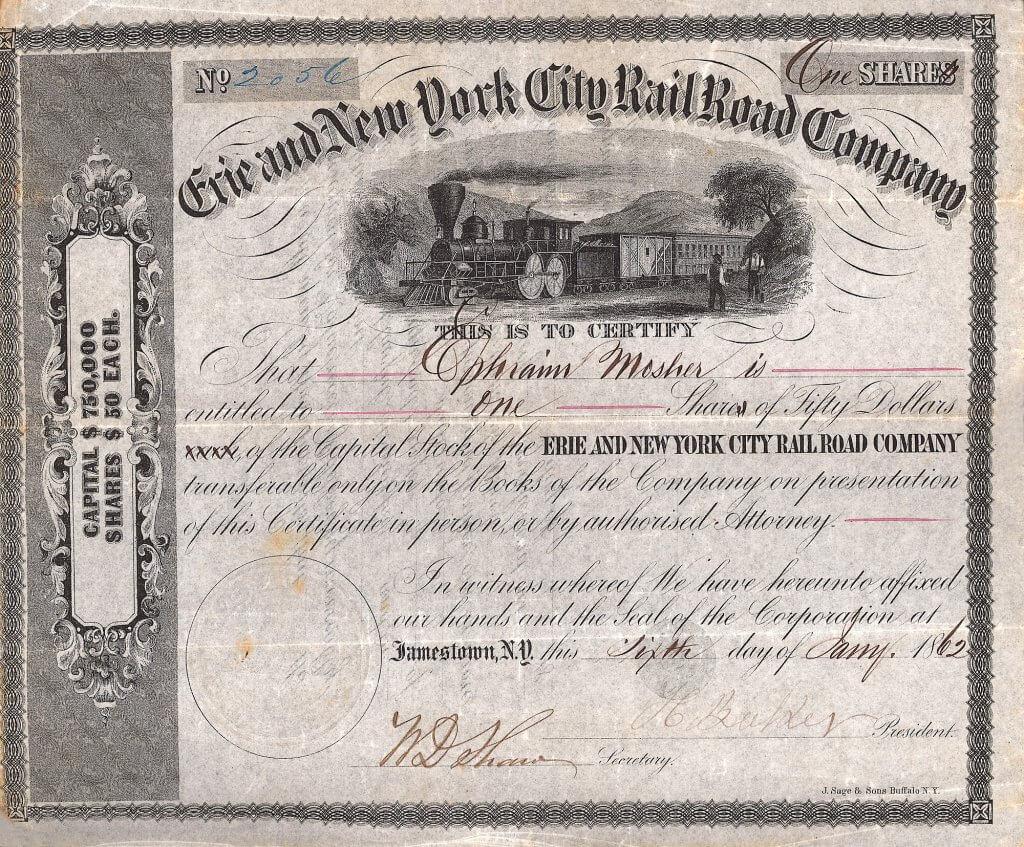 Erie & New York City Railroad Co. - Historische Aktie von 1862. Gegründet 1852 mit einem Kapital von 750.000 $. 1860 wurde die Bahn durch die Atlantic and Great Western übernommen, die ihre Strecke weiter ausbaute. Sie durchfuhr die Staaten New York, Pennsylvania und Ohio.