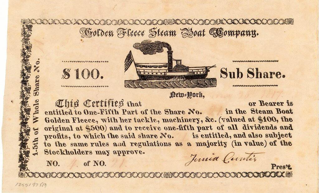 """Golden Fleece Steam Boat Company, historische Aktie von 1817. 1807 hatte Robert Fulton mit der """"North River Steamboat"""" (bekannt als Clermont) das erste kommerziell betriebene Dampfschiff der Vereinigten Staaten in Dienst gestellt. 1812 patentierte Junia Curtis, der mit Robert Fulton befreundet war, eine Rotationsdampfmaschine, die als Schiffsantrieb geeignet war. 1817 gründete Curtis die Golden Fleece Steam Boat Company um einen Raddampfer zu bauen"""