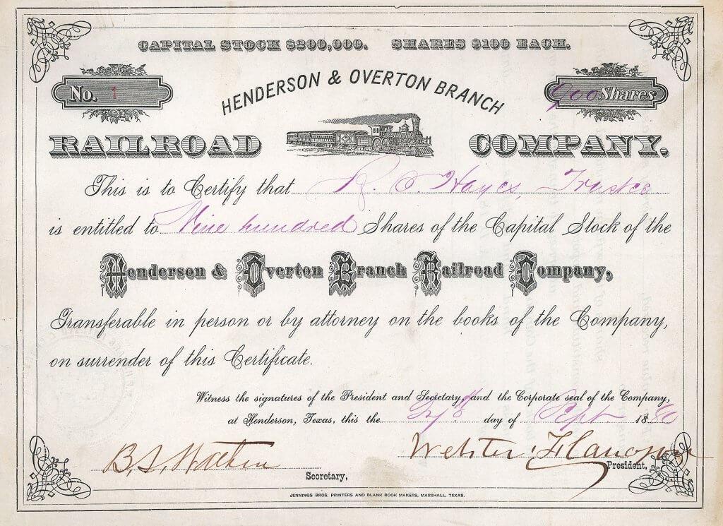 Henderson and Overton Branch Railroad Company - Historische Aktie von 1880. Aktie Nr. 1, original signiert von Webster Flanagan (1832-1934), einem verdienten Soldaten im Bürgerkrieg, Kaufmann, Anführer der Republikaner in Texas, Pferde- und Rinderzüchter.