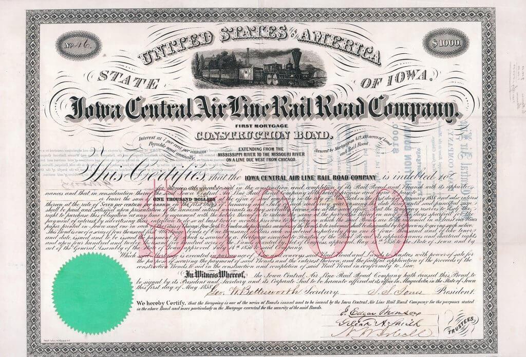 Iowa Central Air Line Rail Road Company, historisches Wertpapier von 1858 mit Originalsignaturen von J. Edgar Thomson, Präsident von  Pennsylvania RR, und von George Washington Cass, Präsident der Northern Pacific RR.