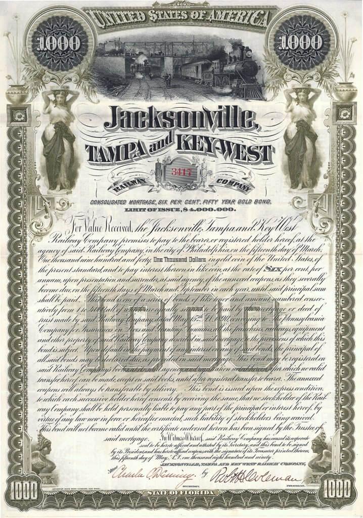 Jacksonville, Tampa and Key-West Railway Company, historisches Wertpapier von 1890, ein Gold Bond über 1000 $. Hochwertiger Stahlstich aus der Künstlerwerkstatt der American Banknote Company mit herrlicher Eisenbahn-Vignette. Die Anleihe wurde vorderseitig original signiert als Präsident von dem Eisenbahnunternehmer und Eisenkönig Robert Habersham Coleman