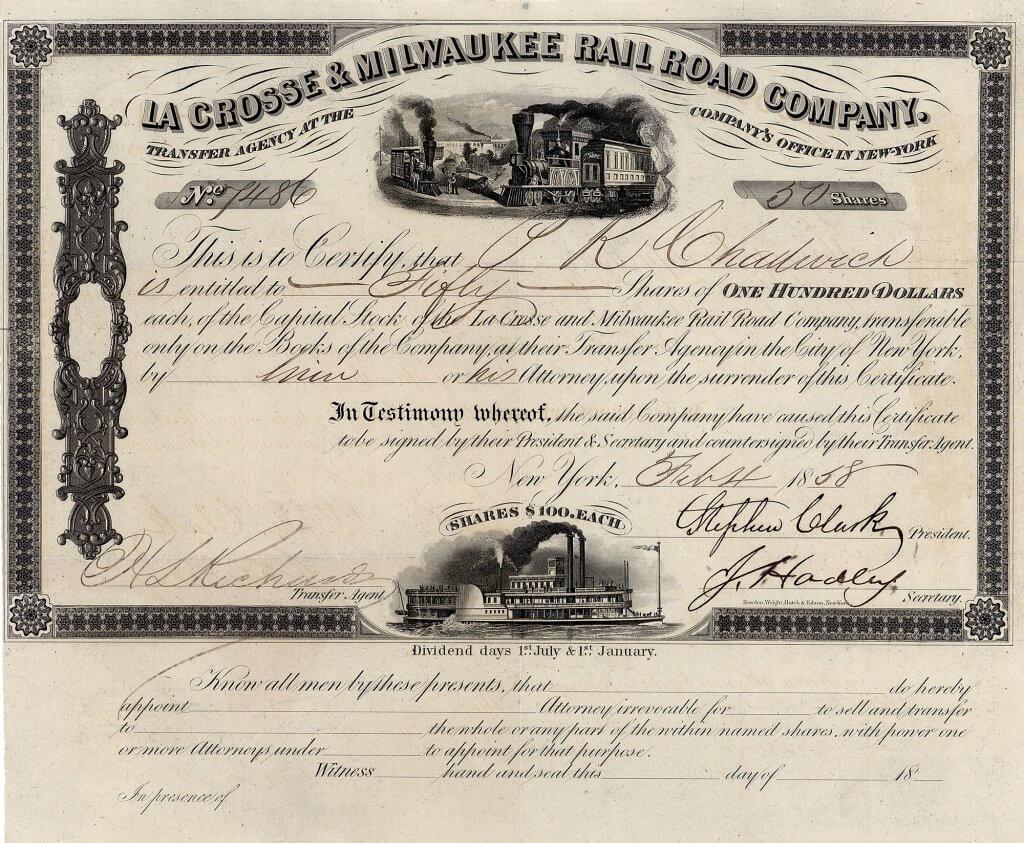 La Crosse & Milwaukee Railroad Co., gegründet 1852, in der Börsenpanik von 1857 (erste Weltwirtschaftskrise) zusammengebrochen, 1858 Betriebseröffnung. Bereits 1859 verschmolzen auf die Milwaukee and Minnesota Railroad Company.