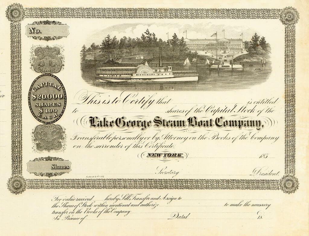 Lake George Steam Boat Company, historische Aktie von 1857. Gegründet bereits 1817 zum Betrieb der kommerziellen Schifffahrt auf dem Lake George, besteht diese AG heute noch, also schon zwei Jahrhunderte lang!