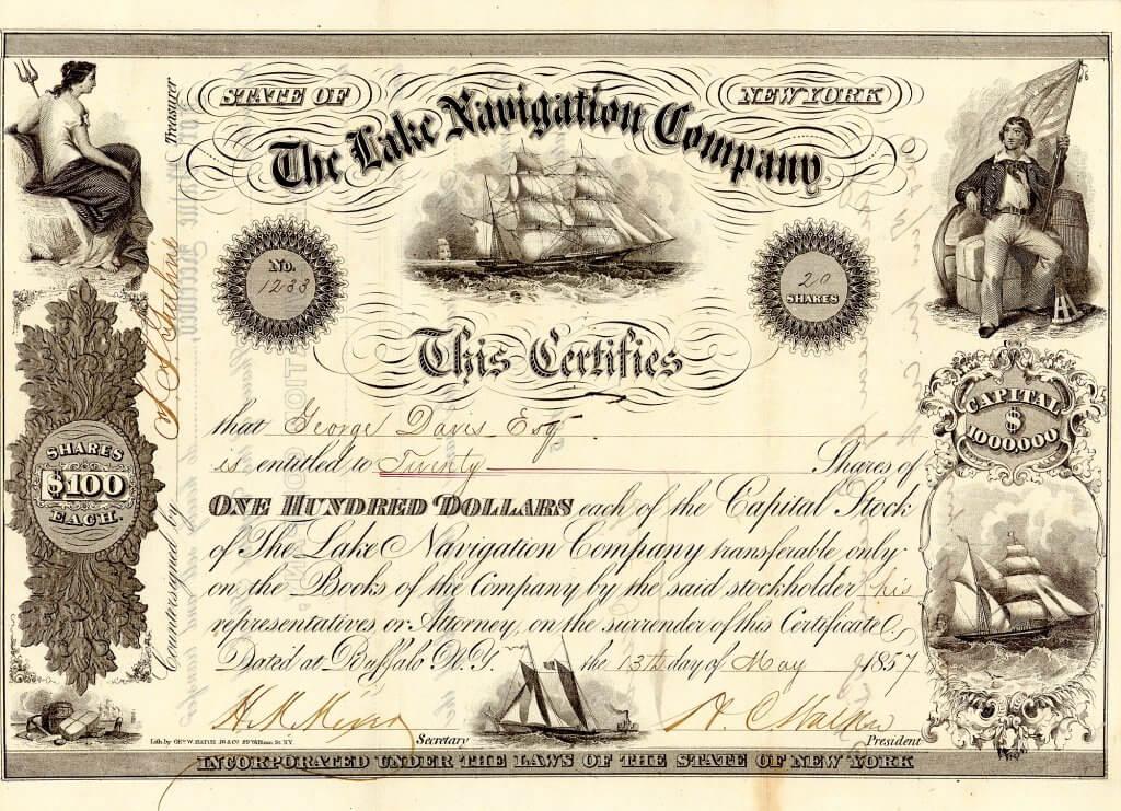 Lake Navigation Company, historische Aktie von 1857. Gegründet wurde die Schifffahrtsgesellschaft 1856 von dem Kanadier Henry C. Walker. Sie besaß eine beachtliche Flottillee von Briggs, Zwei- und Dreimast-Schoner, Dampfsegler und Dampfschlepper mit dem Heimathafen in Buffalo, N.Y. Bereits im April 1858 wurden alle diese Schiffe in einer öffentlichen Auktion von dem Versteigerer Plimpton in dem Hafen von Buffalo angeboten. Als Auftraggeber fungierte der Konkursverwalter Elariso Spaulding.