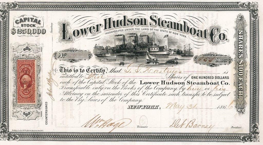 """Lower Hudson Steamboat Company - Historische Aktie von 1866. Die Reederei wurde gegründet 1865 mit einem Kapital von 250.000 $. Einer ihrer Dampfer, die """"Proud Mary"""", wurde von John Fogerty, Ike & Tina Turner und Bruce Springsteen besungen."""