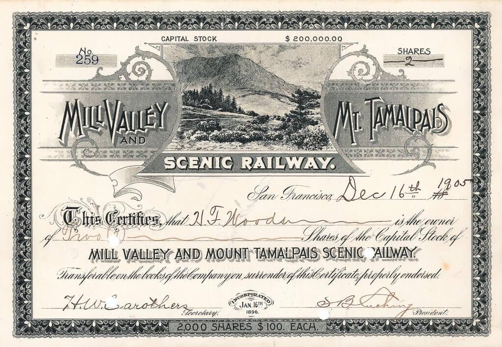 Mill Valley & Mt. Tamalpais Scenic Railway - Historische Aktie von 1905. Diese imposante, 1896 gegründete 8,25 Meilen lange Bahn fuhr von Mill Valley (nahe dem Golden Gate in San Francisco) am Fuße des Berges nur wenige Meter über dem Mehresspiegel gelegen auf die Ostspitze des Mount Tamalpais, 2.537 Fuß über dem Meer.