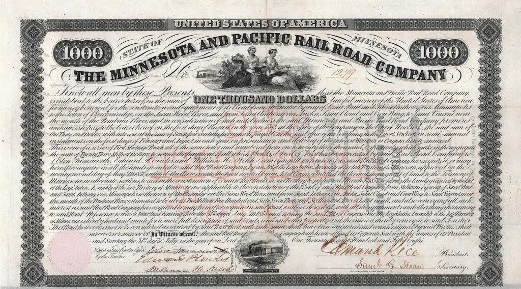 Minnesota & Pacific Railroad Company, historisches Wertpapier von 1858 einer der Keimzellen der gewaltigen transkontinentalen Eisenbahnverbindung Northern Pacific Railroad. Schon die gewaltige Dimension dieser Anleihe (für diese Zeit ungeheure 23 Millionen $, abgesichert durch umfangreiche Landschenkungen) macht deutlich, daß es sich um ein bedeutendes Eisenbahnunternehmen handelte.