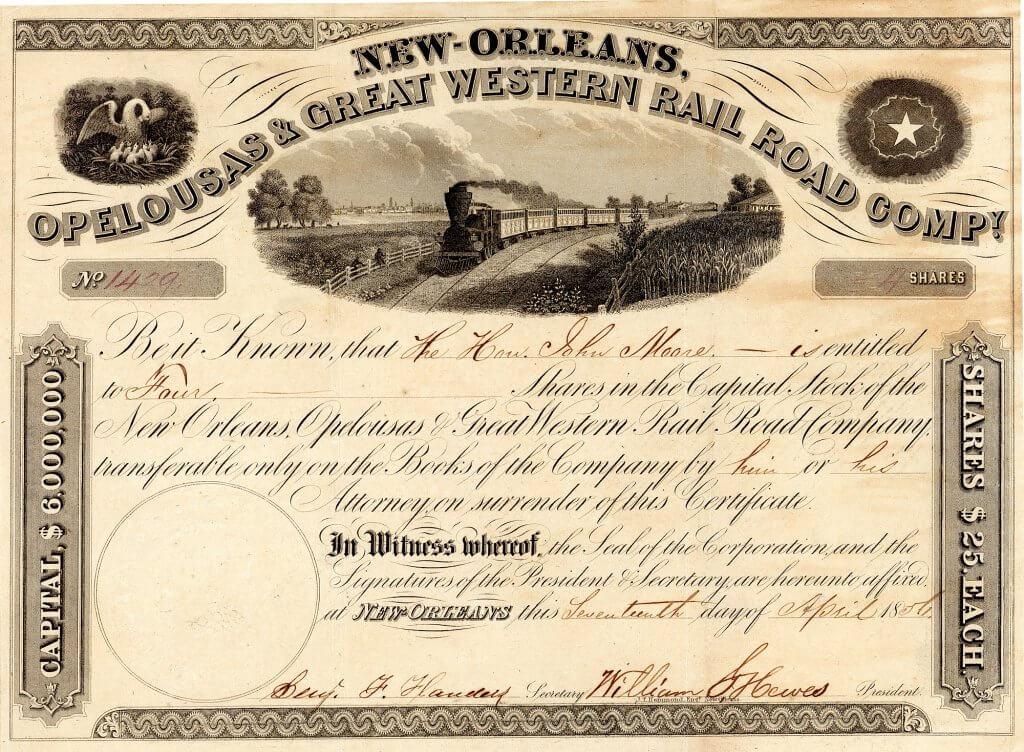 New Orleans, Opelousas and Great Western Railroad Company - Historische Aktie von 1856. Konzessioniert 1852 für den Bau einer 80 Meilen langen Eisenbahn von Algiers (heute Stadtteil von New Orleans) bis zur Bucht von Berwick. Charles Morgan, der berühmte Eisenbahn- und Transport-Tycoon, kaufte die Bahn 1869.