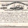 New York and Havre Steam Ship Company, historische Aktie von 1866. Die Reederei wurde 1850 gegründet. Sie verpflichtete sich der US-Post gegenüber regelmäßig zweiwöchentlich auf der Transatlantikroute Post zu befördern, wofür sie von der US-Regierung mit 150.000 Dollars jährlich subventioniert wurde.