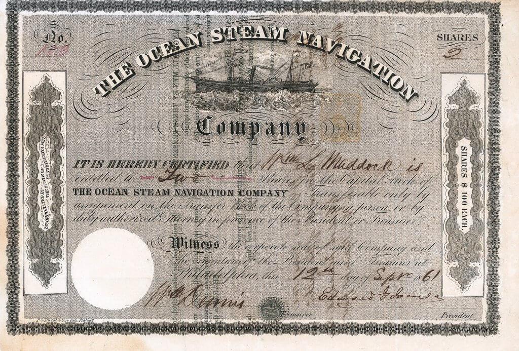 """Ocean Steam Navigation Company, historische Aktie von 1861. Sehr dekoratives Papier mit Abbildung des Dampfers """"Keystone State"""". Das 1853 gebaute Schiff wurde im Regierungsauftrag erfolgreich im Bürgerkrieg eingesetzt. Nicht zufällig ist die Namengleichheit der 1857 in Philadelphia errichteten Gesellschaft mit der 1847 in New York gegründeten und 1857 aufgelösten Ocean Steam Navigation Company, die als Wegbereiter des Norddeutschen Lloyd gilt."""
