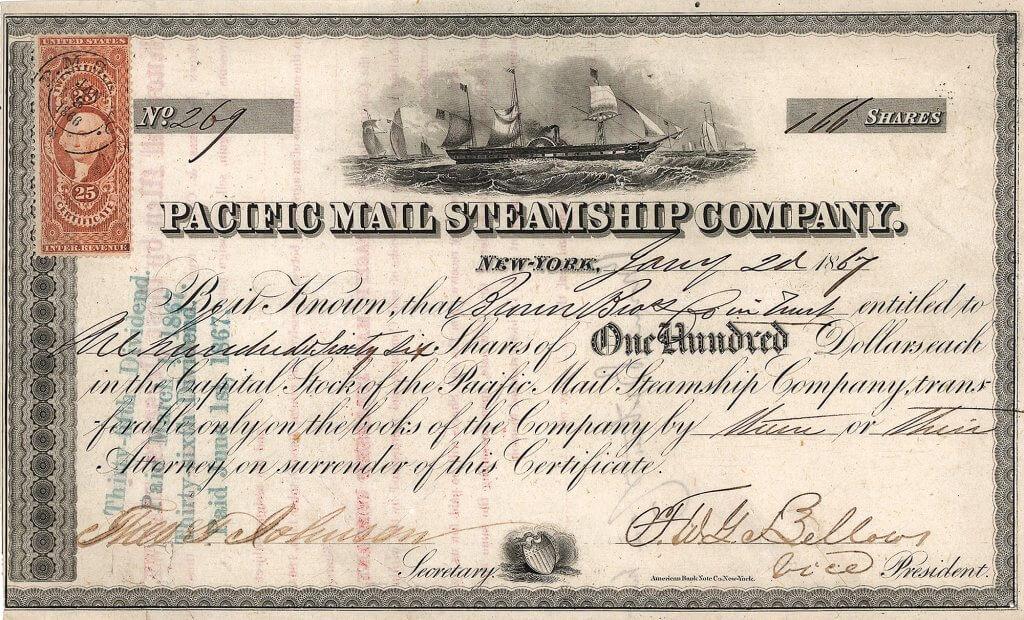 Pacific Mail Steamship Company, historische Aktie von 1867. Die 1848 gegründete Reederei spielte eine bedeutende Rolle in der Geschichte des Wilden Westen. Bereits im kalifornischen Goldrausch (1849–1854) machte sie Riesengewinne. Jährlich zahlte sie eine Dividende von teilweise 30 Prozent.
